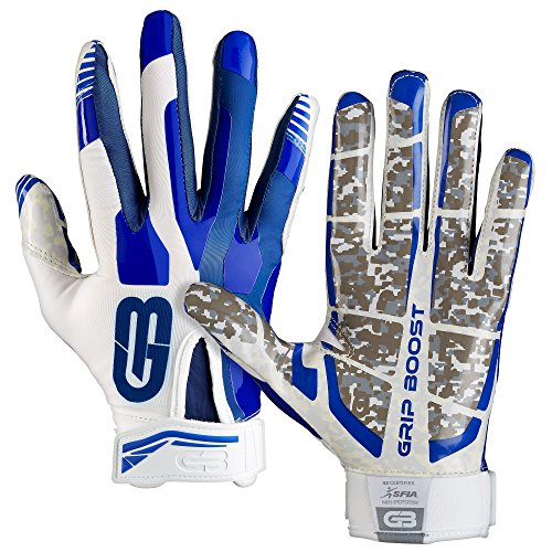 Grip Boost Stealth Football Gloves Pro Elite (Blue/White, Youth Small)