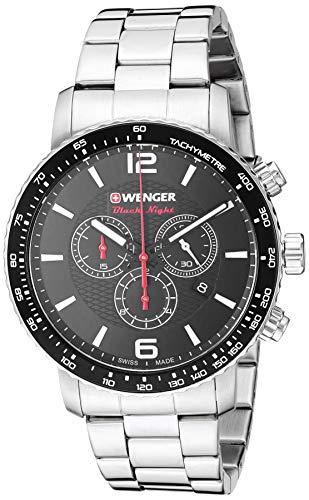 Wenger Men's Roadster Black Night Swiss-Quartz Stainless-Steel Strap, Silver, 22 Casual Watch (Model: 01.1843.103)