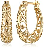 18k Yellow Gold Plated Sterling Silver Filigree Round Hoop Earrings
