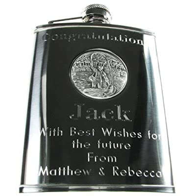 Retirement Gift, Personalised Engraved 6oz Stainless Steel Hip Flask with Solid Pewter Fly Fishing Feature, Men's Retirement Gift from The Great Gifts Company