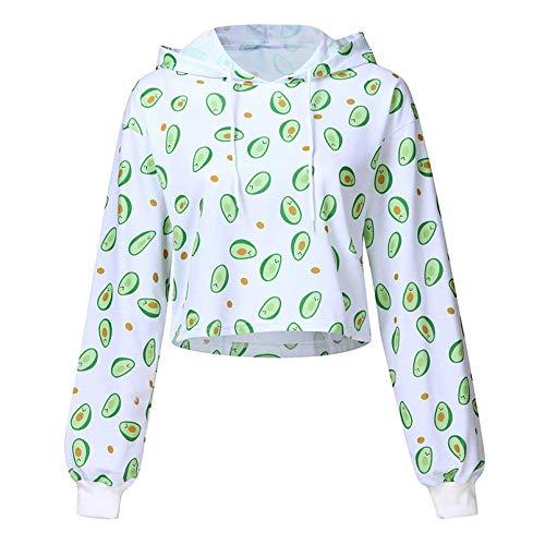 GDRFHJZ Harajuku oversized pullover, rolkraag, wit, hoodie, sweatshirt, comic, avocado, bedrukt, lange mouwen, vrouwenkleding