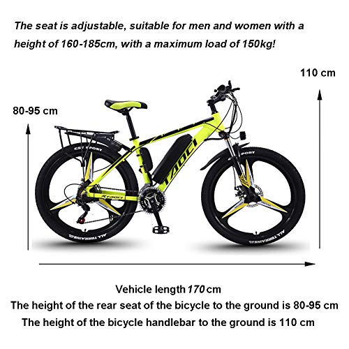 EggshellHome Electric Bikes for Adult, Mens Mountain Bike, Magnesium Alloy Ebikes Bicycles All Terrain,26' 36V 350W Removable Lithium-Ion Battery Bicycle Ebike, for Outdoor Cycling Travel Work Out
