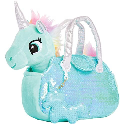 Little Jupiter Plush Pet Set - Unicorn Toys - Unicorn Stuffed Animal - Stuffed Animal for Kids - Plushie - Plush Toy - with Reversible Sequins & Charm(Light Teal)