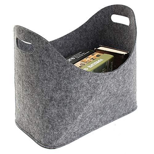 CJCJ-LOVE Portable Dirty Clothes Hamper, Foldable Felt Storage Basket, Shopping Bag Sundries Finishing Box Toy Bucket,Gray
