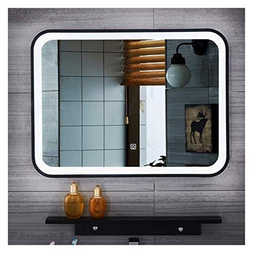 JKFZD Espejo de Baño Rectangular con Marco Negro con Luz LED, Espejo Plateado HD, Luz Blanca, Luz Cálida, Espejo de Afeitar (Color : Single Touch - White Light, Size : 60x80cm)