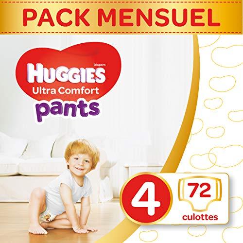 Huggies, Culottes absorbantes bébé Taille 4 (9-14 kg), 72 culottes, Unisexe, Avec indicateur d'humidité, Pack 1 mois de consommation, Ultra Comfort Pants