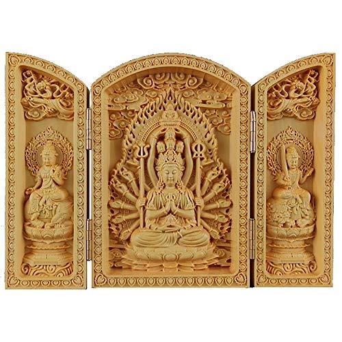 WJFJYPD Buddha-Statue Geschnitzte Buddha-Statue Senju Kannon-Statue Buddhistischer Altar Mini-Buddha-Statue Wächter-Priester-Figur Bete Amulett Buddhistischer Altar Buddha-Statue