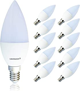 Lampaous® Bombilla led E14, con forma vela, 7W, 3000K, blanco cálido, 560lúmenes, equivale a 70W halógena, pequeña ros...