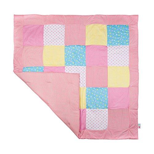 Krabbeldecke groß gepolstert Patchworkdecke Baby Spieldecke jungen mädchen Laufgittereinlage & Laufstalleinlage 120x120 (rosa)