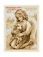 Lovely Angel Embroidery Floss Cross Stitch Kits Embroidery Needlework Sets Cross Stitch Printed Canvas Painting Needlework-In Cloth,Angel And Lamb,11Ct Pre-Pr