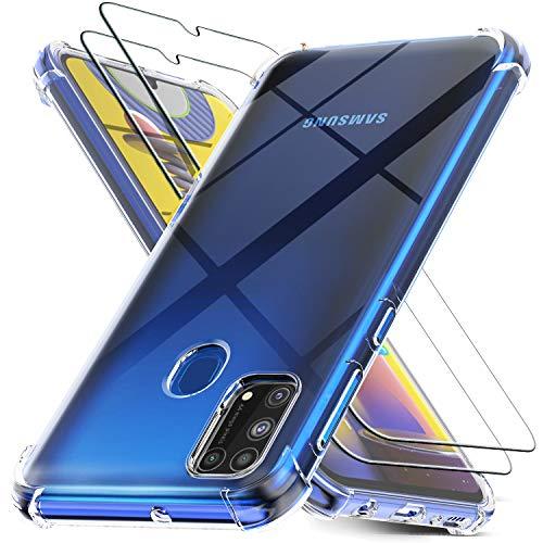 Ferilinso Funda para Samsung Galaxy M31/M31 Prime + 2 Piezas Cristal Templado Protector de Pantalla [Transparente TPU Carcasa] [10X Anti-Amarilleo] [Anti-Choque] [Anti-arañazos] [9H Dureza]