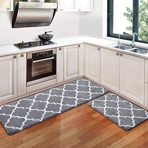 """KMAT Kitchen Rugs and Mats [2 PCS] Super Absorbent Microfiber Kitchen Mat Non Slip Machine Washable Runner Carpets for Floor, Kitchen, Bathroom, Sink, Office, Laundry,17.3""""x28""""+17.3""""x47"""",Grey"""