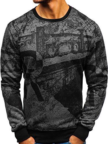 BOLF Herren Sweatshirt ohne Kapuze mit Aufdruck Rundhalsausschnitt Pullover Sport Style J.Style DD659 Dunkelgrau L [1A1]
