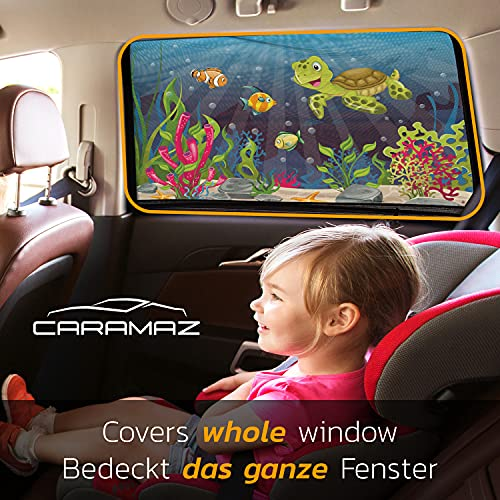 Caramaz Sonnenschutz Auto Baby mit UV Schutz - 2 Stück liebevoll bedruckte Sonnenschutzsocken - Lückenlose Abdeckung Größe M