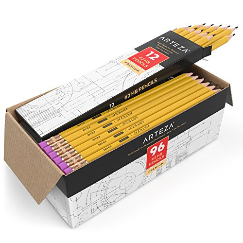 ARTEZA #2 HB Wood Cased Graphite Pencils, Pack of 96, Bulk, Pre-Sharpened with Latex Free Erasers, Bulk pack, Smooth write for Exams, School, Office, Drawing and Sketching
