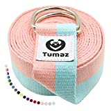 Tumaz Yoga Strap / Stretch Bands [15+ Colors, 6/8/10 Feet Options] with Extra Safe Adjustable D-Ring Buckle, Durable and Comfy Delicate Texture - Best for Daily Stretching, Physical Therapy, Fitness