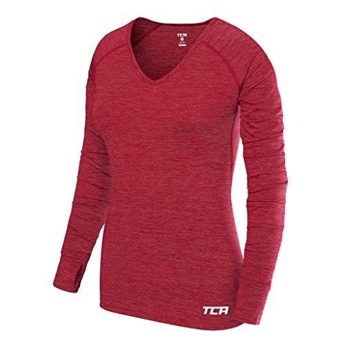 TCA Elle Quickdry Damen Laufshirt/Funktionsshirt - Langarm - Rot, M