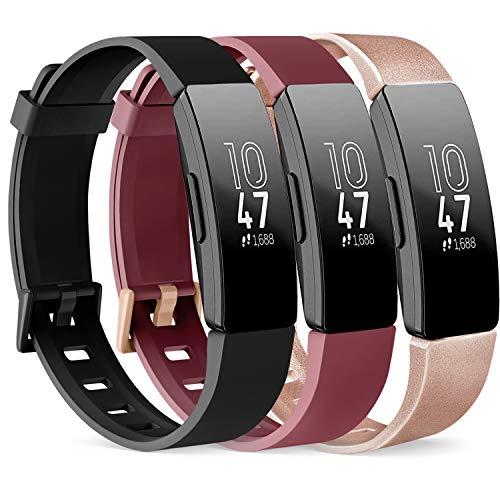 Vancle Pack de 3 correas compatibles con Fitbit Inspire HR y Fitbit Inspire pulsera de silicona deportiva para Fitbit Inspire/Inspire HR (negro/oro rosa/rojo vino, S)