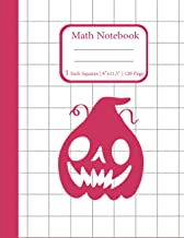 Math Notebook 1 Inch Squares: Red Lined graph Halloween paper composition notebook for Math and Science , Extra large, wit...