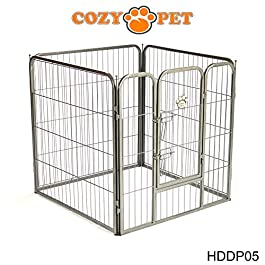 Cozy Pet Heavy Duty Play Pen for Dogs Puppies Rabbits Guinea Pigs, Puppy Playpen Whelping Pen Dog Cage Puppy Crate Run 9 Sizes Available – HDDP05 (We do not ship to Northern Ireland, Scottish Highlands & Islands, Channel Islands, IOM or IOW.)