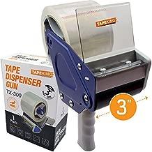 Tape King TX300 3 Inch Wide Packing Tape Dispenser Gun - Plus 1 Free Roll of Packaging Tape - Side Loading 3