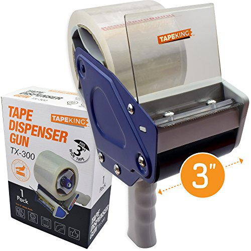 "Tape King TX300 3 Inch Wide Packing Tape Dispenser Gun - Plus 1 Free Roll of Packaging Tape - Side Loading 3"" Lightweight Ergonomic Industrial Gun for Shipping, Moving, Carton and Box Sealing"