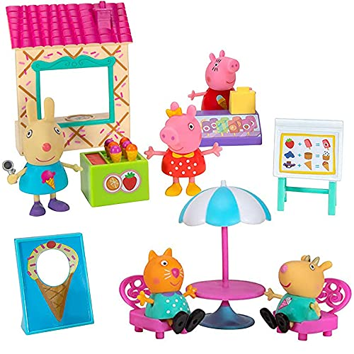 Peppa Pig Ice Cream Time Deluxe Playtime Set – Including Peppa Pig, Mummy Pig, Rebecca Rabbit, Candy Cat, Ice Cream Stand, Cash Register, Menu Easel, and Other World of Peppa Accessories!