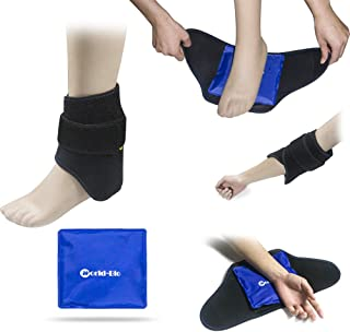 Foot Ankle Ice Gel Pack for Follow and Sole, Hot Cold Therapy Reusable and Adjustable Perfect for Plantar Fasciitis, Achilles Tendonitis, Sprains, Swollen Foot and Muscle Pain Relief