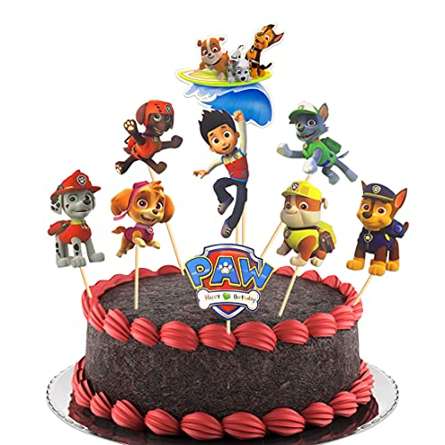 Topper per torta, 45 Pezzi Torta Compleanno Toppers,Decorazioni per Cupcake, Decorazioni per Bambini,Fai Da Te a TemaDecorazione della Torta della Festa di Compleanno (paw patrol)