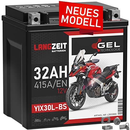 LANGZEIT YIX30L-BS GEL Motorradbatterie 12V 32Ah 415A/EN Gel Batterie 12V YB30L-BS 83200 doppelte Lebensdauer vorgeladen auslaufsicher wartungsfrei ersetzt 30Ah