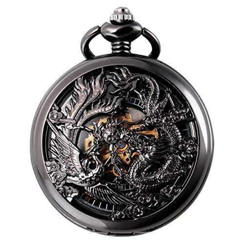 SIBOSUN Mechanical Pocket Watches Mens, Lucky Phoenix and Dragon, Skeleton Pocket Watch, Black Antique Roman Numerals Box