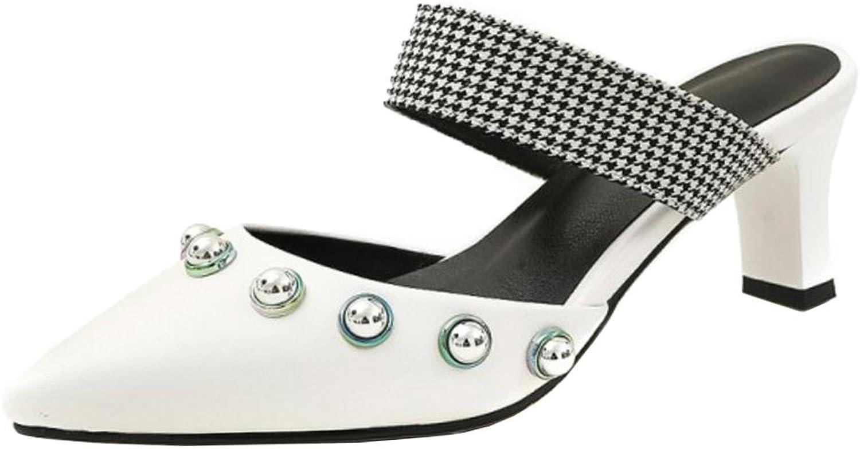 RizaBina Women Fashion Pointed Toe Mules Sandals