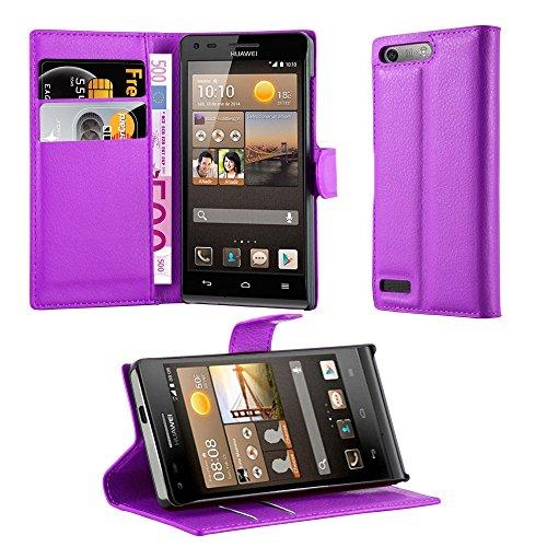 Cadorabo Hülle für Huawei Ascend G6 in Mangan VIOLETT - Handyhülle mit Magnetverschluss, Standfunktion & Kartenfach - Hülle Cover Schutzhülle Etui Tasche Book Klapp Style