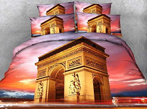 Set Biancheria da Letto Parigi Arc de Triomphe 3D Stampato Set Copripiumino in Microfibra Morbida con Chiusura a Cerniera e federe Cuscino 140cm x 200cm