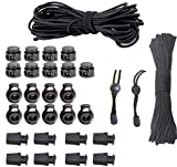 32 pcs Cord Locks, Cord Stopper,Spring Toggle Stopper Cord Rope End + Zip Clip Buckle,Cord and Rope End Locks,Zipcords,Paracord Clips and Buckles, Zipper Pull End 1/8 inch Bungee Cord + paracord