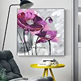 N / A Floral Poster and Print Mural Art Canvas Painting Hand-Painted Violet Picture for Living Room Home Decoration Frameless 30x30cm
