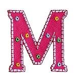 M 9cm ABC rosa Namen Buchstaben Aufbügler persönlich Dekoration zum Aufbügeln auf Hosen Kleider Kappe Hut Jacke Schal Halstuch Decke Rucksack Tasche Turnsack Fahne Wimpel Türschild...