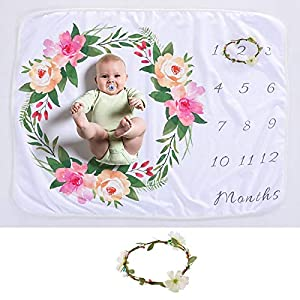 """HIFUMI Baby Monthly Milestone Blanket for Girls Boys, Memory Blanket for Newborn Baby Shower, Soft Fleece Blanket, Baby Photography Props, Includes Picture Frame 30""""x40"""" (Happines Flowers)"""