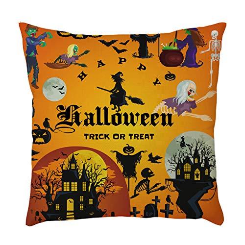 Beonzale Dekokissenbezug Halloween Leinen Taille Throw Kürbis Geister Home Decoration Kissenbezug Sofakissenbezug