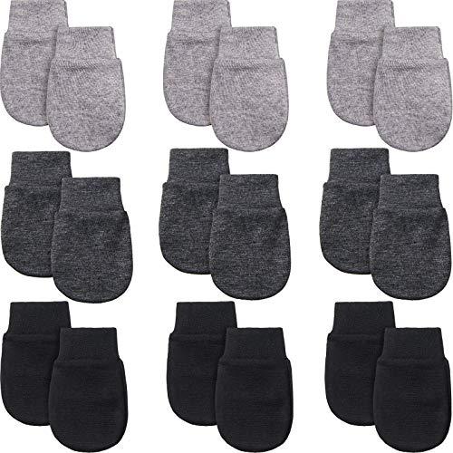 9 Paare Neugeborene Fäustlinge Baby Säugling Handschuhe Kein Kratzer Handschuhe Unisex Baumwolle Handschuhe für 0-6 Monate Baby Jungen Mädchen (Schwarz, Grau, Schwarz-Grau)