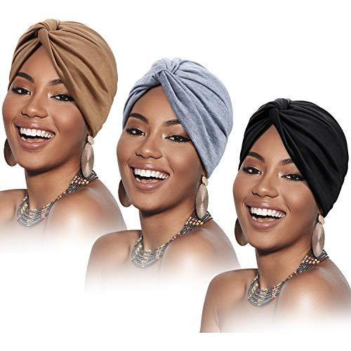 3 Pièces Turbans pour Femmes Turban Plissé à la Mode Nœud Doux Bonnet Cap Chapeau de Couchage, 3 Couleurs