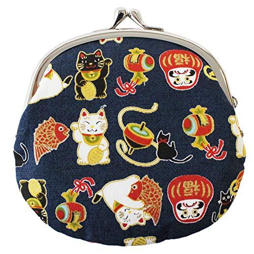 Traditionelle japanische Chirimen Gamaguchi Münztasche Manekineko (Beckoning Cat), Daruma-Puppen-Design, Marineblau