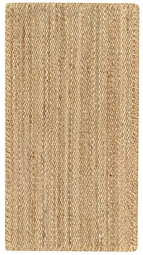 HAMID - Alfombra de Yute Granada 100% Fibra de Yute Natural - Alfombra Suave - Tejida a Mano - Alfombra de Salón, Comedor, Dormitorio, Pasillos, Entrada - Natural (110x60cm)