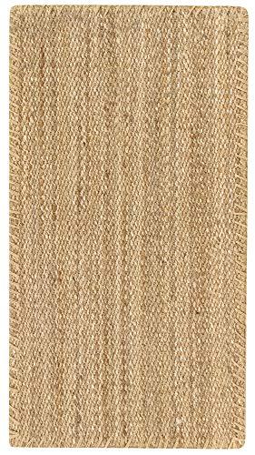 HAMID Jute Teppich - Granada Teppich 100% Natürliche Jutefaser - Weicher Teppich und Hohe Festigkeit - Handgewebt - Wohnzimmer, Esszimmer, Schlafzimmer, Flurteppich - Natürlich (110x60cm)