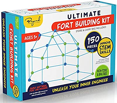 Fort Building Kit - 150 Piece Fort Building Kit for Kids - Build A Fort Indoor and Outdoor Playhouse Kit - STEM Toys for 5 Year Old and Up - Castle, Tunnel, Rocket, Pirate Ship by Beyond Innoventions from Beyond Innoventions