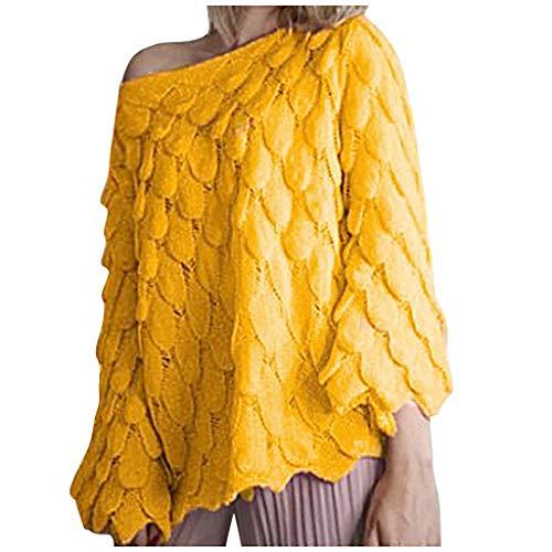 ROVNKD - Jersey para niña, para Invierno, cálido, Redondo, Manga Larga, Blusa Informal Amarillo XL