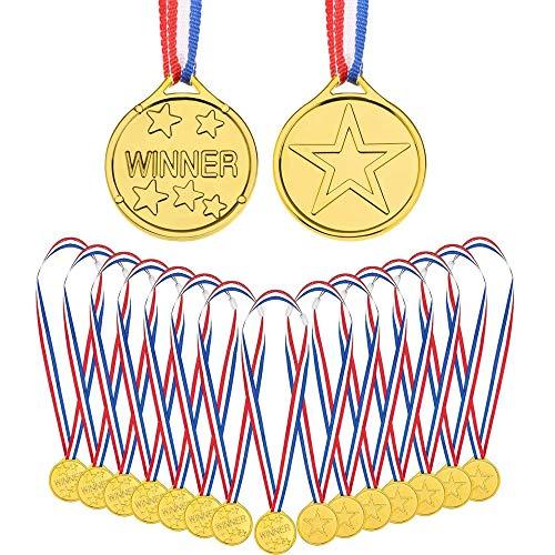 Lazz1on 24 Piezas Ganadores Medallas Oro Niños Premio Medallas de Plástico para Deportiva Competición Juegos Fiesta Regalos Premios