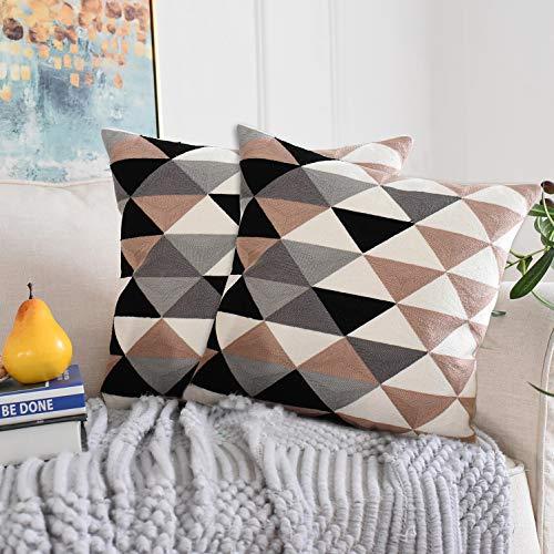 OSVINO 2er Set Kissenhülle gestrickt Zierkissenbezug geometrisch elegant für Haus Büro Sofa Bett, Braun 45 x 45cm