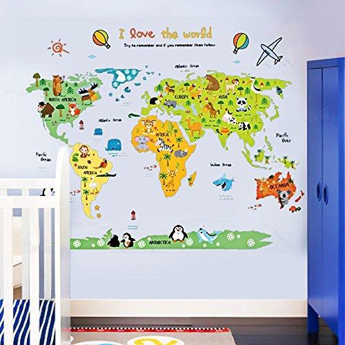 ufengke Mapa del Mundo de La Historieta Animal Lindo Pegatinas de Pared, Vivero Habitación de Los Niños Removible Etiquetas de La Pared/Murales