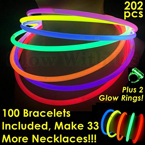 "Glow Sticks Bulk Wholesale Necklaces, 100 22"" Glow Stick Necklaces+100 FREE Glow Bracelets! Bright Colors Glow 8-12 Hr, Connector Pre-attached(handy), Glow-in-the-dark Party Supplies, GlowWithUs Brand"
